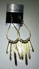 GOLD ELONGATED HOOP WITH HANGING SPIKES DANGLE EARRINGS