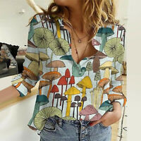 T Shirt Mushroom Tee Blouse Fashion Womens Casual Ladies Long Sleeve Tops