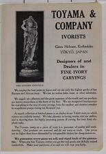 1914 Japon Japonais Tourist Annonce Toyama & Compagnie Ivorists Tokyo Dealers