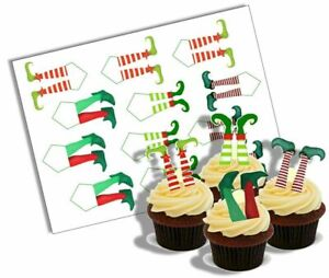 Cupcake Decoration Elf Legs Picks Edible UNCUT 12 Stand Up Wafer Paper Toppers