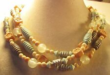Vintage 60's Plastic Bead Necklace Green Blue Tan Cream Multi 3 Strand