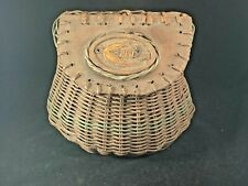 Vintage Wicker Fishing Creel with Trout Fly Carving on Top