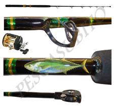 Kit Canna Pesca Tonno Game Rod Tuna Carrucola 30/60Lbs + Mulinello Mak 70