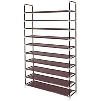 10 Tier Shoe Rack Organizer Storage Pairs Shoes Shelves Space 50 Pairs Standing