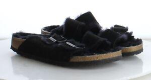 T18 $150 Women's Size 42B Birkenstock Arizona Shearling Sandal in Black