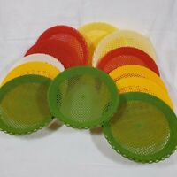 12 Vintage Plastic Basket Weave Paper Plate Holders Red Green Yellow MCM Picnic