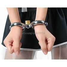 "Locking Metal Wrist Restraints Cuffs Handcuffs steel oval 7*5cm /2.76""*1.96"" New"
