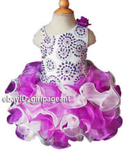 Infant/toddler/baby Purple/white Crystals Pageant Dress  G111 from size1T-size6
