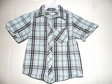 BOYS GREENDOG SHORT SLEEVES PLAID SHIRT SIZE 4/4T BLUES & GREEN EUC LIGHT WEIGHT