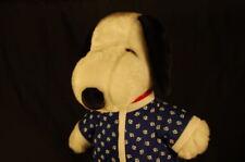 "Snoopy Peanuts Plush Footed Blue Paw Print  PJs Charlie Brown 15"" Stuffed Animal"
