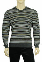NEW MENS CLUB ROOM V NECK STRIPE MERINO WOOL BLEND PULLOVER SWEATER $85