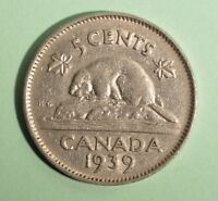 1939 Canada 5 Cent - Nickel - Circulated - Nice Coin Album Collectable