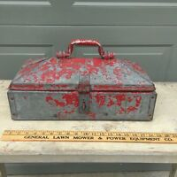 Antique Mechanic's toolbox - Red Paint, galvanized steel w/ great vintage patina