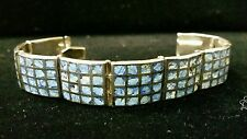 Turquoise Bracelet, Unpolished Stones 925 Sterling Silver Taxco Natural Inlaid