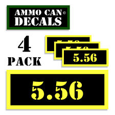 """5.56 Ammo Can 4x Labels Ammunition Case 3""""x1.15"""" stickers decals 4 pack 5.56  YW"""