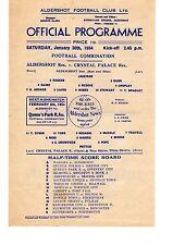 Aldershot v Crystal Palace Reserves Programme 30.1.1954 Football Combination