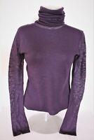 Damenmode Feinstrick Pullover NEU Pulli Gr. 40 S/M violett  Drapé-Kragen Langarm