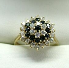 Large 9 Carat Gold Blue Topaz And White Stone Cluster Ring Size M