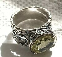 NWT SHABLOOL DIDAE STERLING SILVER 925 LEMON QUARTZ RING SZ 8 MADE IN ISRAEL