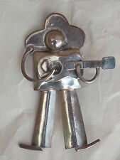Classic Old Vintage Mexican 980 Silver GUITAR MAN PIN Taxco