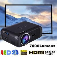 7000 Lumens 1080P HD LED Projector Mini 3D Home Theater Cinema HDMI USB/VGA/AV C