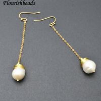 Handmade Wire Wrapped Natural White Pearl Beads Tramline Dangle Earrings Jewelry