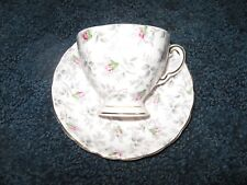 Tuscan-Cup and Saucer-Bone China-Chintz pattern-England-Pink