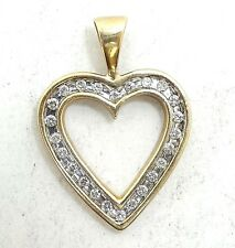 10K SOLID GOLD HEART PENDANT with 24 DIAMONDS Channel Set Large ESTATE