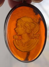 Princess Sterling Silver Brooch Pendant Georgian Fine Carved Amber Cameo Russian