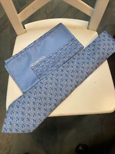 Hermes blue tie Zebra pattern W/ Pocket Square New without tags