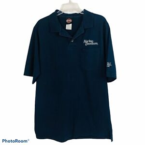 HARLEY-DAVIDSON Men's Polo Shirt Sz Large Blue W/Embroidery on Front & Sleeves