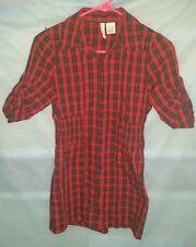 Tillys Full Tilt JR Small Taper Waist Plaid Button Shirt Adjusts to Short Sleeve