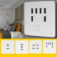 Six Hole USB Charger Power Adapter Wall Socket Grounded Electrical Square Outlet