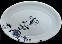 "Crate and Barrel CAMILLE 15.5"" Spal Porcelain Platter Blue Floral On White"