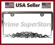Chrome Metal Skull & Flames Black Eyes License Plate Frame Car Steel Tag Holder