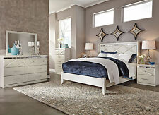 MYRA 5 Pieces Modern Glamour Champagne White Bedroom Set NEW   King Panel  Bed