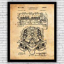 Hemi V8 Engine Chrysler Automotive Patent Art Print Decor - Size & Frame Options