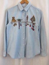 Vtg Karen Scott Embroidered Baby Blue Denim Christmas Holiday Shirt Women's Sz M