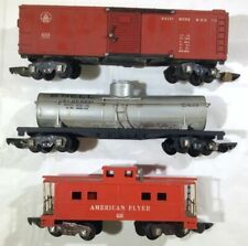 American Flyer 638 Caboose, Shell 625 Tank Car, B&O 633 Boxcar (S Scale) w/ Link