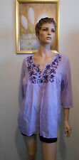 MILLERS embroidered gypsy boho cotton top mauve NWT $35 size 18  (bn)