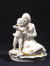Katzhütte, Hertwig & Co große Art déco Porzellan-Figur Mutter mit Kind