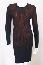 NWT Authentic MCQ ALEXANDER McQUEEN Black Orange Stretch SHEATH Dress L