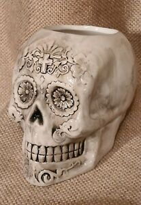 """Day of the Dead Skull BEIGE/ Black Ceramic  Planter Pots 5.5"""" Plant Containers"""