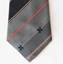 Maltese Cross tie grey red and white diagonal stripes and blue cross SHORT