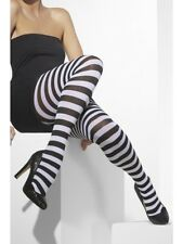 Black & White Striped Tights Ladies Halloween Fancy Dress Accessory