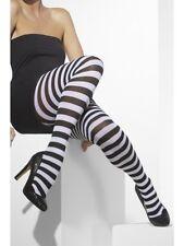 bianco e nero calze a righe Donna Accessorio Costume di Halloween