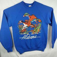 Alabama Flying Ducks Graphic Mens Blue 50/50 SweatShirt sz L Vintage 80s USA