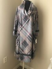 Signature by Robbie Bee Plus size 2X Plaid Cowl Neck swing dress Ladies NEW