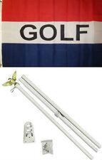 3x5 Advertising Golf Golfing Red White Blue Flag White Pole Kit Set 3'x5'