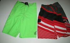 Quiksilver Lot of 2 Little Boys Board Shorts/Swim Trunks Red Black Green 7/7X